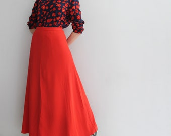 79682d184 Vintage 70s Suit Poppy Flowers Blouse and Coral Red Long Skirt
