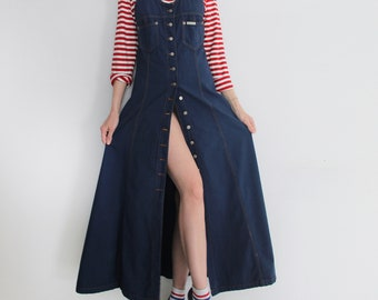 b2600c5df54c Vintage 90s Denim Button Front Pinafore Dress
