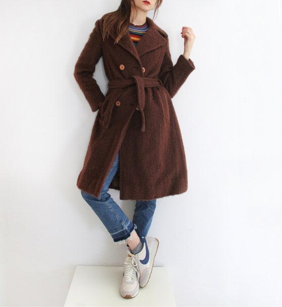 Vintage 70s Fuzzy Hairy Mohair Wool Coat, Brown