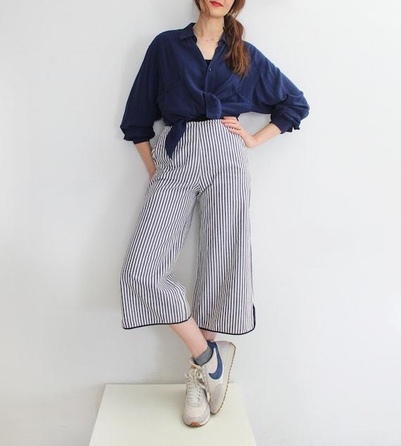 90s Vintage Nautical Striped Capri Pants