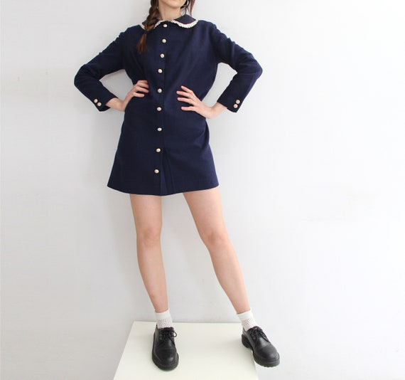 Swinging 60s Vintage MOD Peter Pan Collar Mini Dr… - image 4