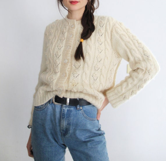 Vintage 60s Nordic Handmade Cable Knit Cardigan