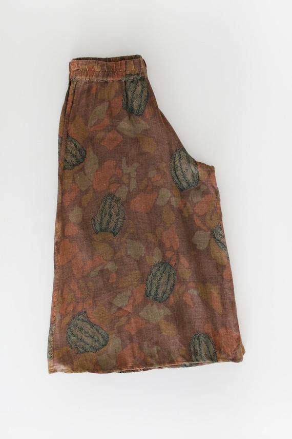 70s Vintage Succulent Print Canvas Pants Culottes - image 10