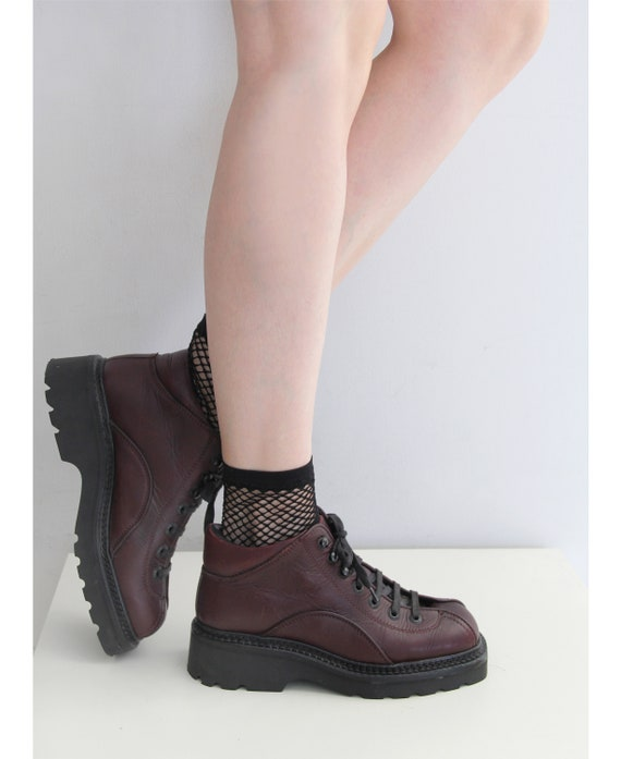 Late 90s Burgundy Chunky Lace-Up Boots