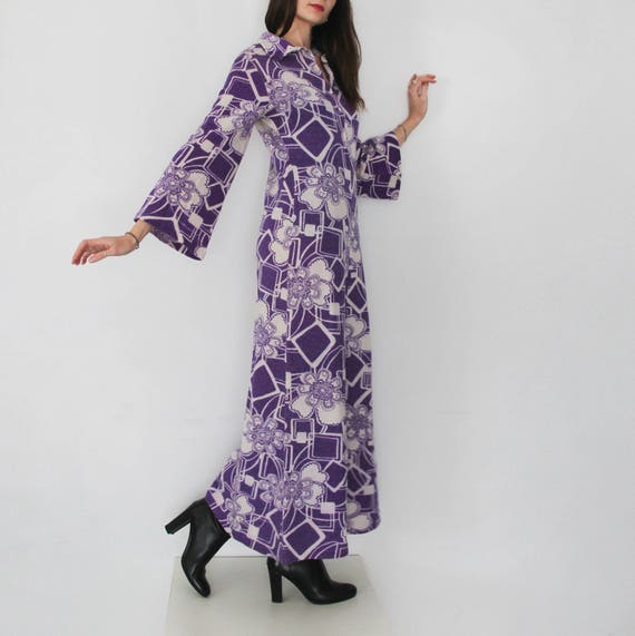 70s Space Age Psychedelic Purple Maxi Dress