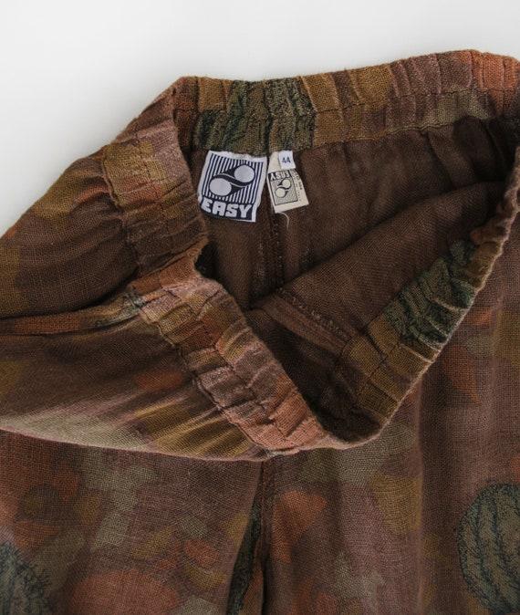 70s Vintage Succulent Print Canvas Pants Culottes - image 4