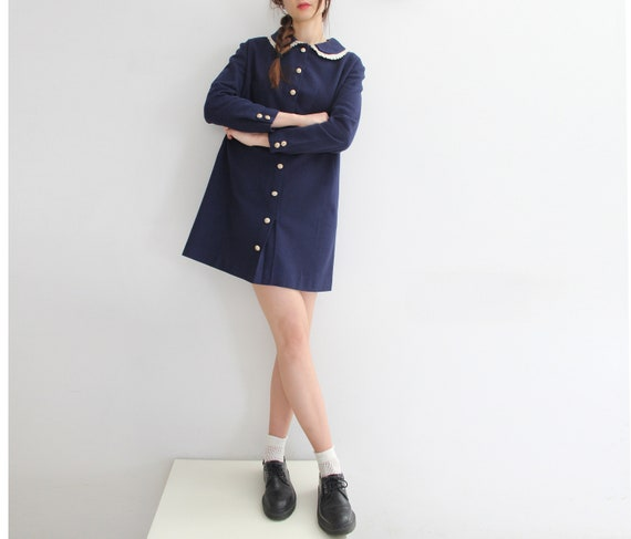 Swinging 60s Vintage MOD Peter Pan Collar Mini Dr… - image 1