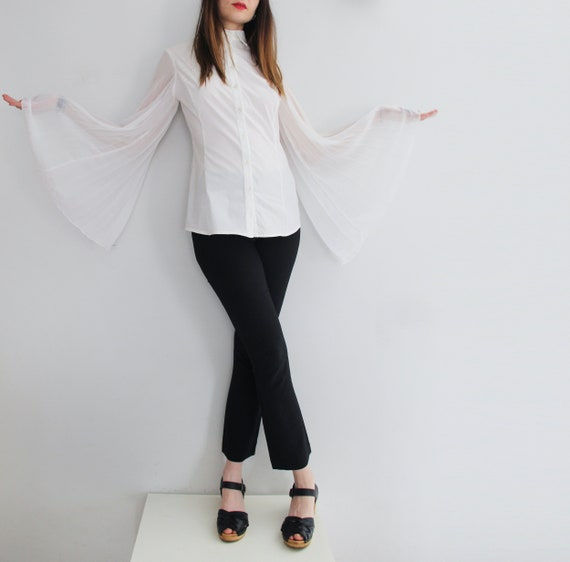 Y2K Angelic White Bell Sleeves Blouse Made in Ital