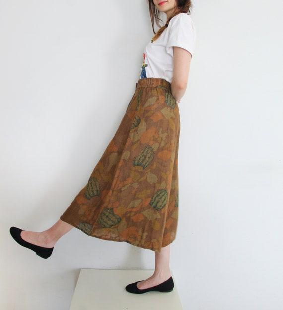 70s Vintage Succulent Print Canvas Pants Culottes - image 2
