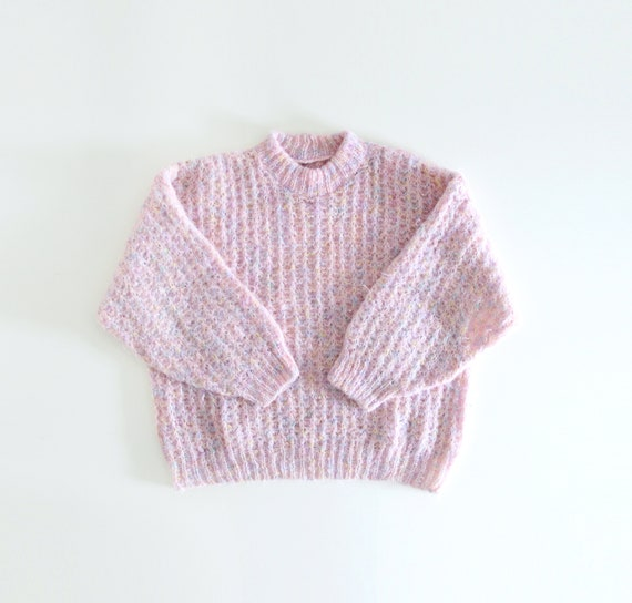 80s Fluffy Baby Pink Hand Knitted Sweater Balloon