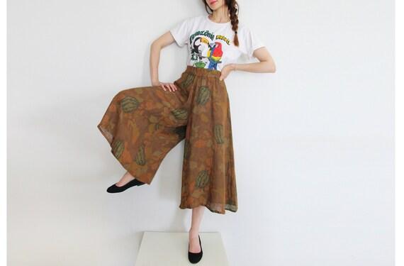 70s Vintage Succulent Print Canvas Pants Culottes - image 1