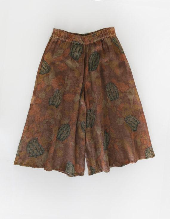 70s Vintage Succulent Print Canvas Pants Culottes - image 3