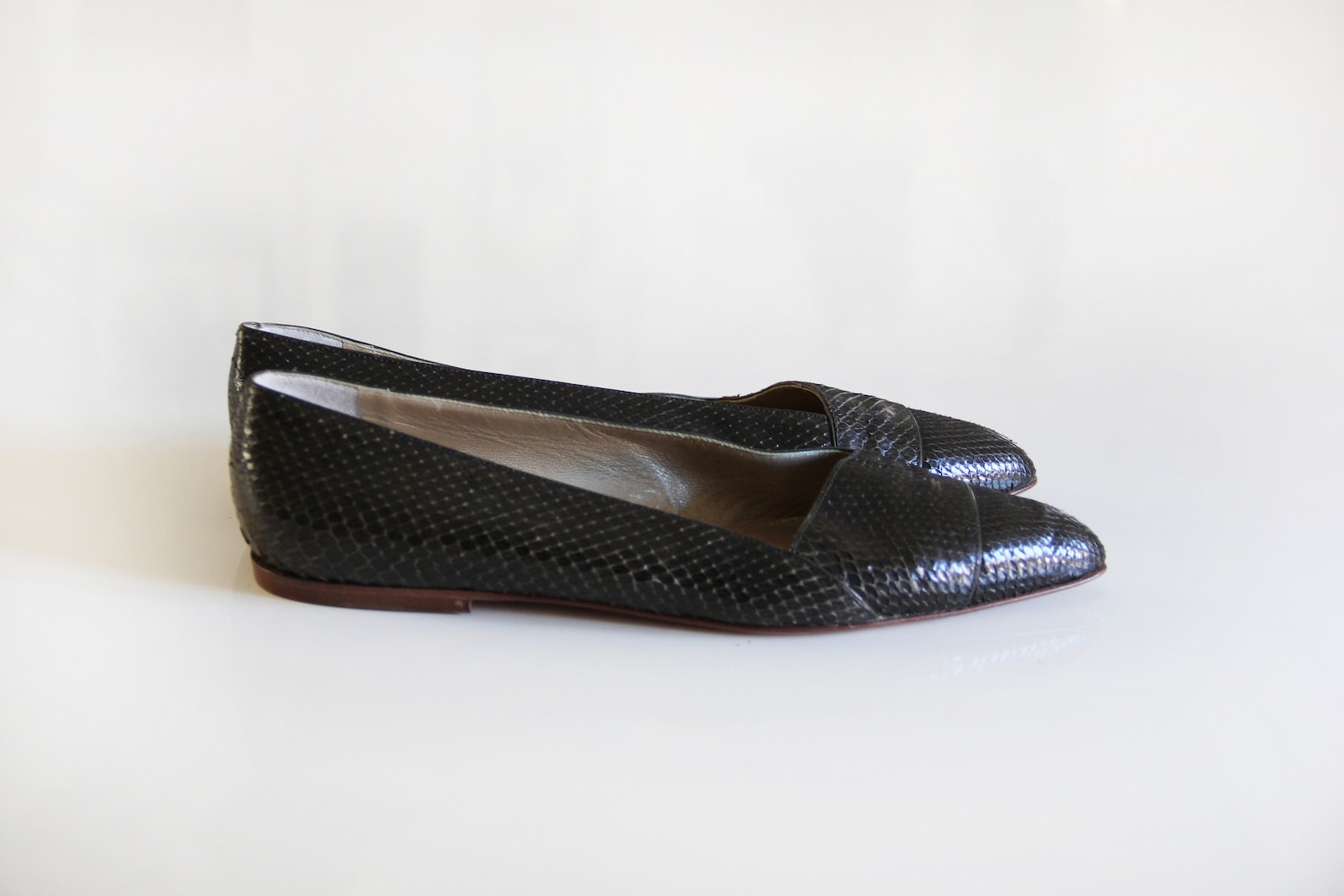 versace vintage 80s snake pointed ballet flats