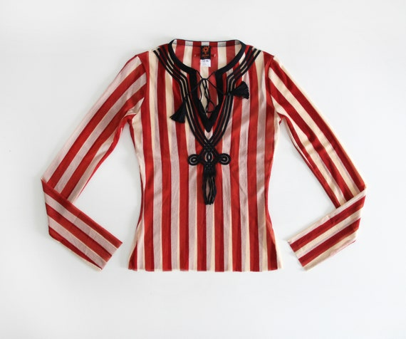 90s JEAN PAUL GAULTIER Soleil Red Stripes and Tass