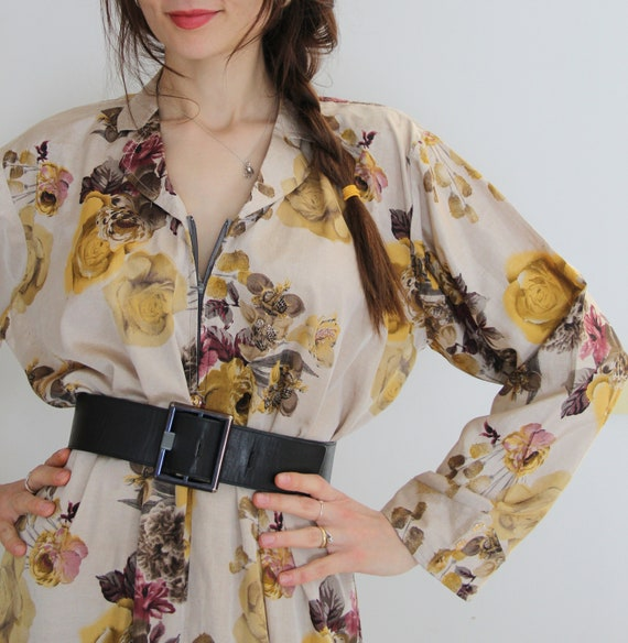 90s Vintage Summer Garden Floral Shirt Dress