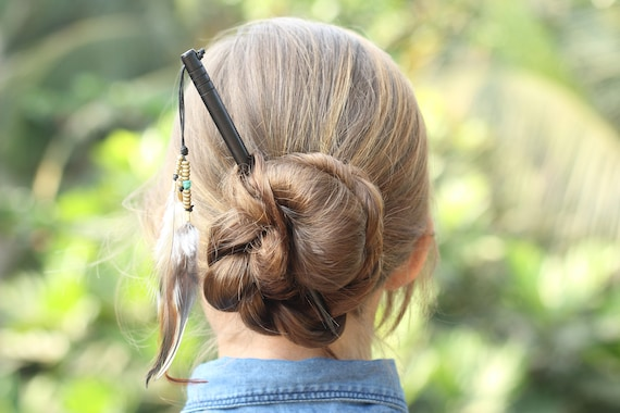 Handmade bun holders Gift for beautiful girl /& lady for long curly hair Wooden hair stick with leather motley owl feather pendant