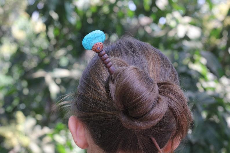 unusual gift for her big hair pin bright wooden hair stick fork bun holder easy hair design Ceramic /& wood hair pick
