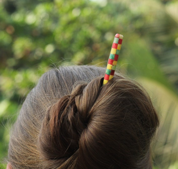 fork bun holder Wooden hair pick with corals and turquoise wood hair stick big hair pin for boho hair design