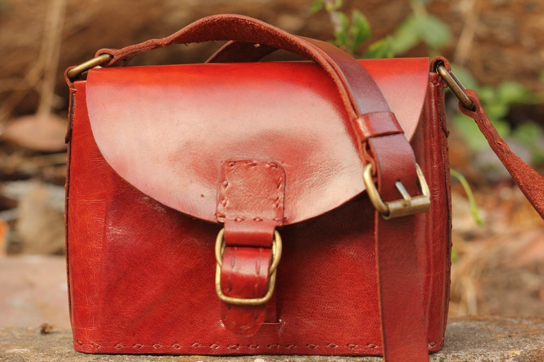 d3942f89826 Small shoulder leather bag, copper buffalo leather bag, wild west cowboy  style, handmade leather purse, unusual boho design