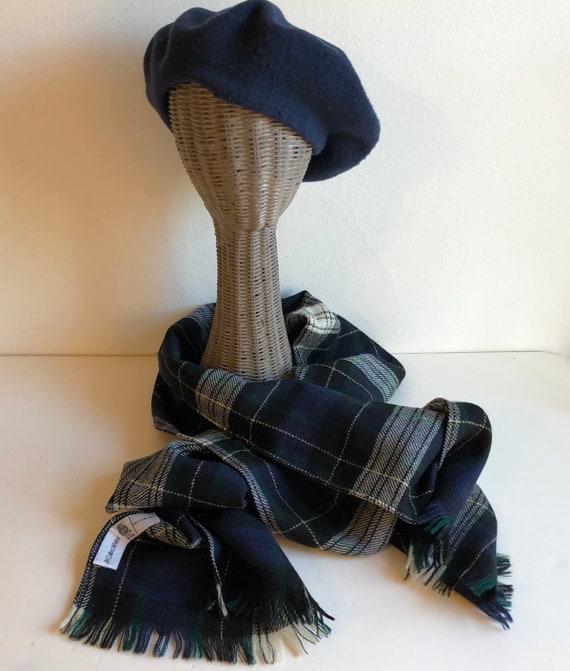 Vintage large wool tartan scarf, JH Collectibles,