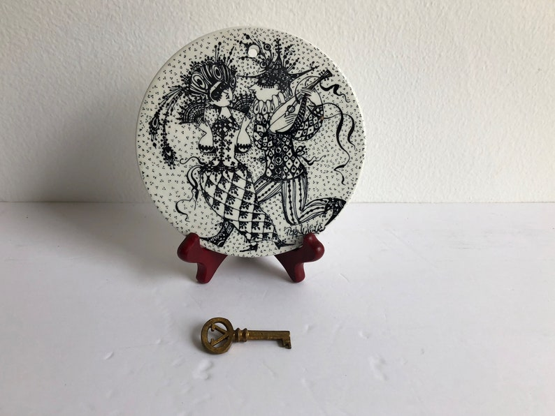 Vintage Bjorn Wiinblad ceramic plaque Maskerade Februar from Nymolle Denmark engagement gift trivetcollector/'s item