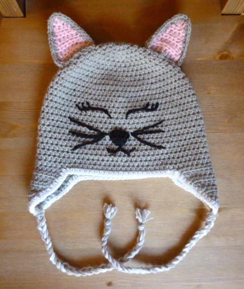Uncinetto cappello gatto gatto cappello beanie uncinetto kitty  090571d7ceaf