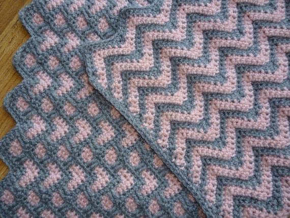 Häkeln Baby Decke/Ripple Decke/Herz Decke/grau rosa | Etsy
