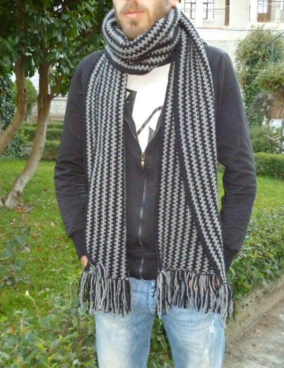 Hombres bufanda rayado bufanda lana bufanda punto hombres  46681d4775c