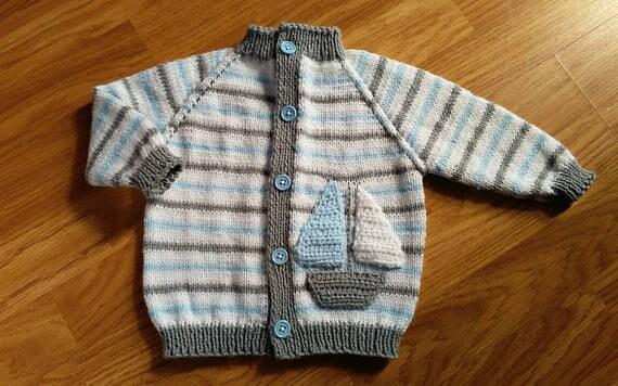 Jungen Strickjacke stricken / Baby-jungen Jacke / Segel Boot | Etsy