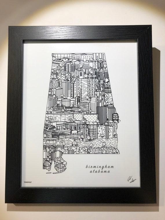 Birmingham Alabama Wall Art | Birmingham Skyline Print | UAB Graduation