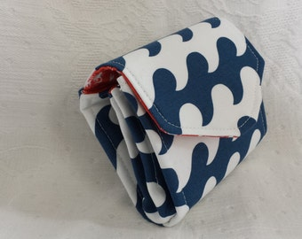 Blue and white nautical waves mini-clutch with ocean and lobster fabric (Maine Made)