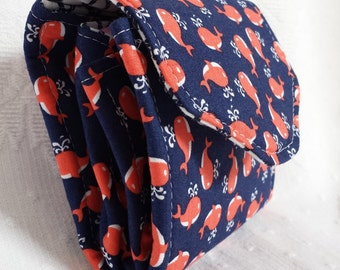 Blue and red whale mini-clutch with nautical fabric (Maine Made)