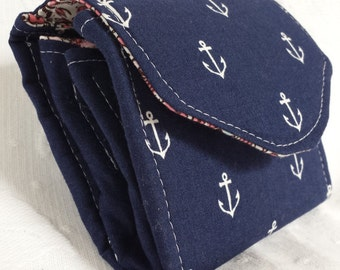 Blue anchor mini-clutch with nautical fabric (Maine Made)