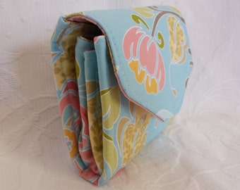 Blue and pink floral mini-clutch (Maine Made)