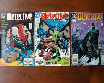 Batman Detective Comics Lot of 3 #598 599 600 VF, Blind Justice, Sam Hamm, Denys Cowan, DC Comics