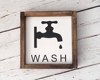 Delightful WASH Sign | Bathroom Wall Decor | Farmhouse Bathroom | Wood Sign |  Farmhouse Sign | Bathroom Sign | Faucet Sign | Farmhouse Style | Home Dec