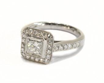 Princess Cut Diamond Target Ring set in Platinum
