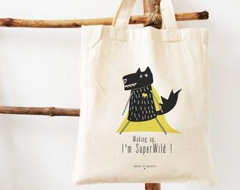 kid's bag, kid's tote bag, wolf, super-hero - snack bag, toy's bag, toy's storing, gift, birth, birthday