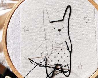 Super Bunny - Embroidery - Decoration - accessories - kids Kit.