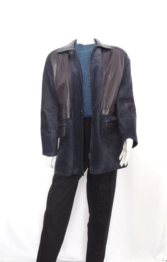 Vintage Leather jacket navy blue