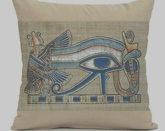 egyptian pillow Cover The Eye of Horus  decorative throw pillows zippered pillow egyptian Hieroglyph Pillow Cover,old egypt pillow