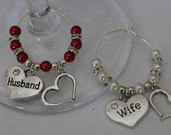 Husband & Wife wine glass charms, wedding gift, valentines day gift, anniversary gift