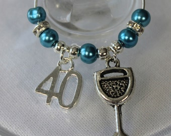 40th Party charm - birthday gift / wine glass charms
