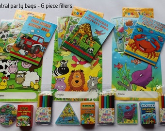 Children's party loot bags with 6 fillings, boys, girls and neutral themes