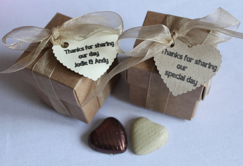 personalised with tags and part filled Rustic wedding favour boxes