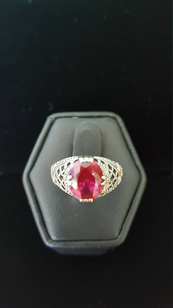 Sterling Silver 2ct Ruby Ring filigree ring 925 S… - image 4