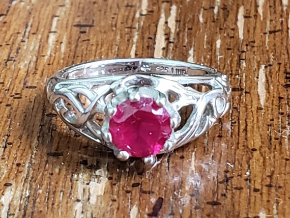 Sterling Silver Ring With Ruby - 925 Lind Sterlin… - image 2
