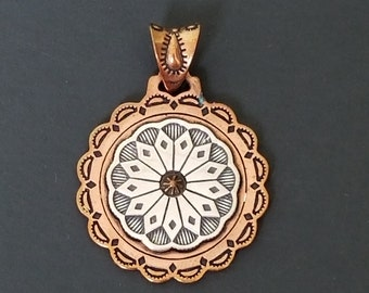 Sterling Silver Copper Pendant  925 Copper/Silver Pendant