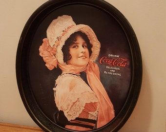 Vintage 1972 reproduction of 1914 Betty Girl Drink Coke-Cola tin tray