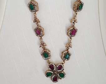 Vintage Turkish Necklace, sterling silver,  bronze, ruby, emerald and white topaz